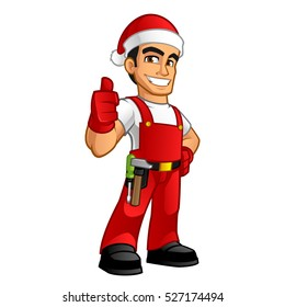 Handyman dressed as santa claus