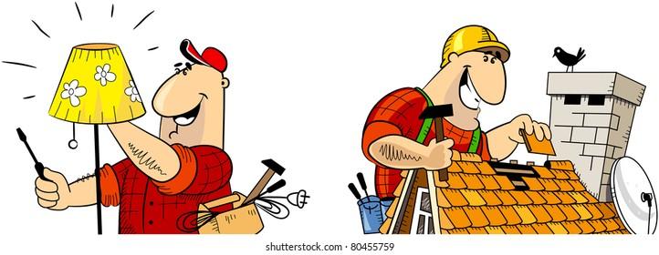 Handyman electrician, Handyman roofer. The series of the handyman cartoon character