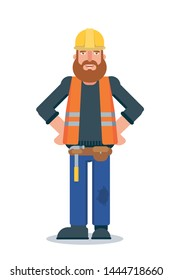 Handyman flat vector character. Male repairmen, mechanic with professional tools and equipment isolated clipart. Builder in safety vest and helmet on white background. Smiling workman illustration