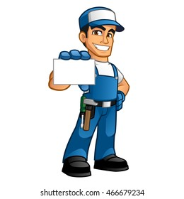 Handyman he wears work clothes and he has a business card in his hand
