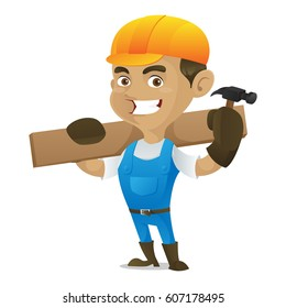 Handyman holding hammer and carrying wood plank isolated in white background