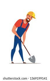 Handyman holding shovel flat vector illustration. Builder cartoon character wearing protective equipment. Repairman in yellow helmet, overall digging ground isolated clipart. Road works, construction