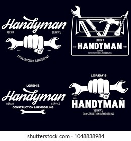 Handyman labels badges emblems and design elements. Tools silhouettes. Carpentry related vector vintage illustration. Isolated on black background.