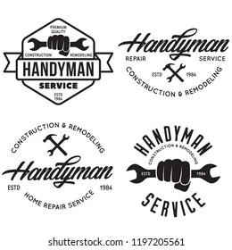 Handyman labels, badges, emblems, design elements. Tools silhouettes. Carpentry related vector vintage illustration. Vector design for your logo with set of workers tools.
