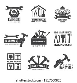 Handyman logo. Worker with equipment servicing badges screwdriver hand contractor man vector symbols