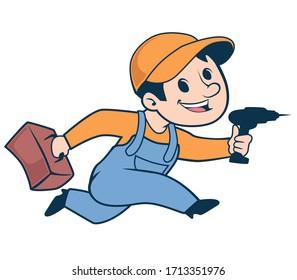 handyman mascot cartoon in vector