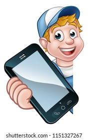 A handyman or mechanic holding a phone with copyspace