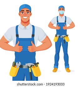 Handyman in overalls and tool belt showing thumbs up. Full size under clipping mask. Vector cartoon character isolated on white background.