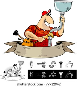 Handyman plumber (character #6) with some icons.