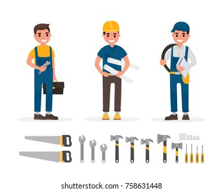 Handyman, plumber, foreman, engineer and builder elements collection with various people actions. Set of workers and hand tools in flat style