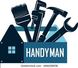 Handyman repair and renovation symbol with tool