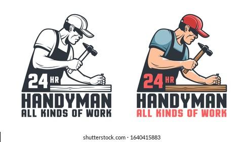 Handyman retro logo. Worker hammering nail - repair service vintage emblem.Vector illustration.