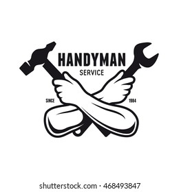 Handyman service emblem. Tools silhouettes. Carpentry related vector vintage illustration.