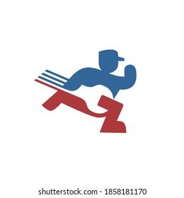 Handyman Service Logo Repairman Run Holding Wrench Symbol Negative Space Illustration Logo
