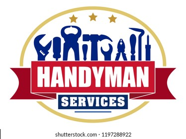 Handyman services colorful oval vector design for your logo or emblem with red banner and set of workers tools. There are wrench, screwdriver, hammer, pliers, soldering iron, scrap.