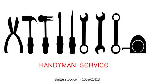 Handyman services, Craftsman tool icon set. Technician tool sign and symbol. Vector illustration EPS 10.