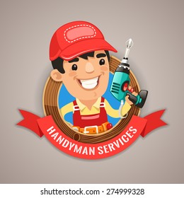 Handyman Services Emblem for Your Carpentry Company Projects