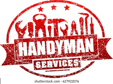 Handyman services red, vector grunge rubber stamp for your logo or emblem with banner and set of workers tools. There are wrench, screwdriver, hammer, pliers, soldering iron, scrap.