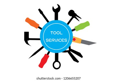Handyman services round vector design for your logo or emblem with set of workers tools. Color Technician tool sign and symbol. Vector illustration EPS 10.