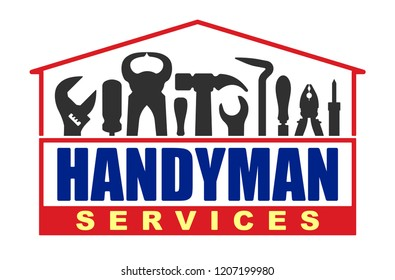 Handyman services vector design for your logo or emblem in shape of house with set of workers tools. There are wrench, screwdriver, hammer, pliers, soldering iron, scrap.