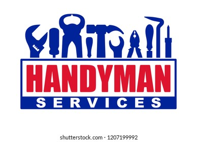 Handyman services vector design for your logo or emblem with red caption and set of blue workers tools. There are wrench, screwdriver, hammer, pliers, soldering iron, scrap.