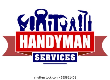 Handyman services vector design for your logo or emblem with red banner and set of workers tools. There are wrench, screwdriver, hammer, pliers, soldering iron, scrap.