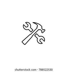 Handyman tools icon vector symbool construction repair emblem