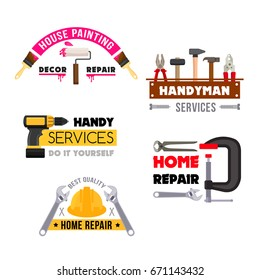 Handyman work tools icons set for home repair service or company. Vector isolated handy toolbox of house fix instruments, paint brush, screwdriver or wrench, trowel or safety helmet and hammer or vise