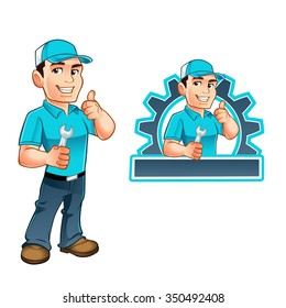 Handyman worker with key in the hand