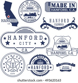 Hanford city, California. Set of generic stamps and signs including Hanford city seal elements and location on California state map.