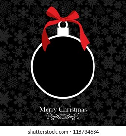 Hang christmas bauble over black snowflake horizontal seamless pattern. Vector illustration layered for easy manipulation and custom coloring.