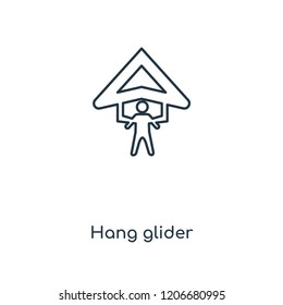 Hang glider concept line icon. Linear Hang glider concept outline symbol design. This simple element illustration can be used for web and mobile UI/UX.
