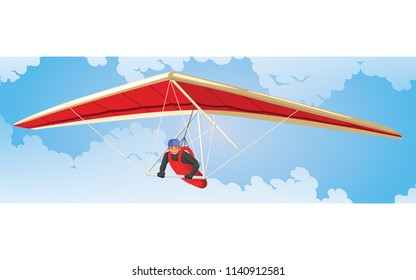 HANG GLIDER EXTREME OUTDOOR SPORT WITH CLOUD