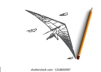 Hang glider, extreme, sky, sport, fly concept. Hand drawn man flying with hang glider concept sketch. Isolated vector illustration.