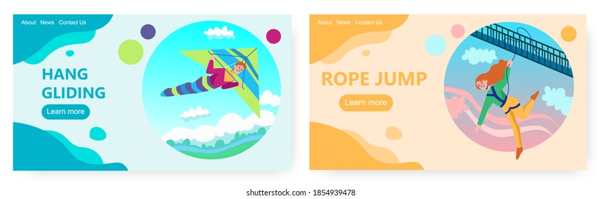 Hang glider fly in the sky. Woman bungee jump from a bridge. Extreme sport vector concept illustration. Delta gliding, bungy jumping, risk. Web site design template