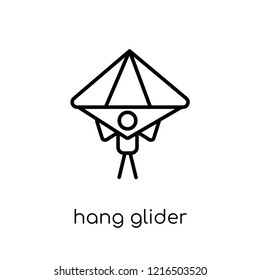 hang glider icon. Trendy modern flat linear vector hang glider icon on white background from thin line collection, outline vector illustration