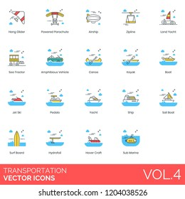 Hang glider, parachute, airship, zipline, land yacht, sea tractor, amphibious vehicle, canoe, kayak, boat, pedalo, ship, sail boat, hydrofoil, hover craft, submarine transportation vector icons.