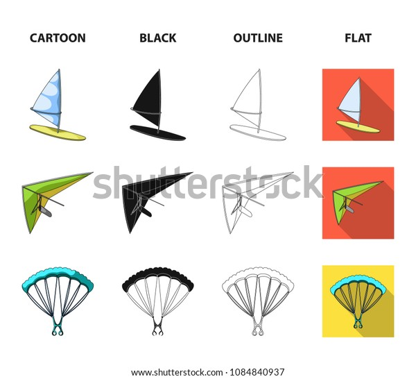 Hang glider, parachute, racing car, water scooter.Extreme sport set collection icons in cartoon,black,outline,flat style vector symbol stock illustration web.