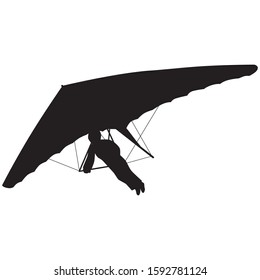 Hang glider silhouette. Vector illustration. Isolated white background.