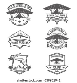 Hang gliding club emblems. Design elements for logo, label, badge, sign. Vector illustration