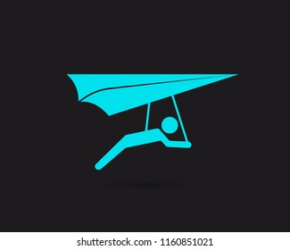 Hang gliding icon, hang glider vector web icon isolated on black background, EPS 10, top view