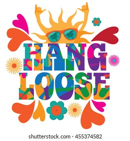 Hang loose 1960s mod pop art psychedelic sun giving the shaka surf hand sign design. EPS 10 vector.