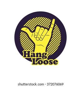 Hang loose hand sign. Symbol of surfing or Brazilian Jiu-Jitsu. Vector illustration.