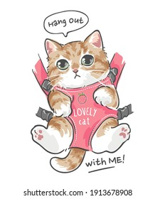 hang out slogan with cute cartoon cat in front carrier illustration