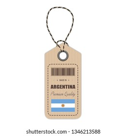Hang Tag Made In Argentina With Flag Icon Isolated On A White Background. Vector Illustration. Made In Badge. Business Concept. Buy products made in Argentina. Use For Brochures, Printed Materials