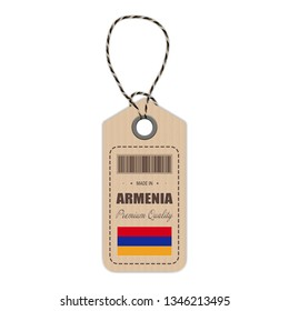 Hang Tag Made In Armenia With Flag Icon Isolated On A White Background. Vector Illustration. Made In Badge. Business Concept. Buy products made in Armenia. Use For Brochures, Printed Materials, Logos