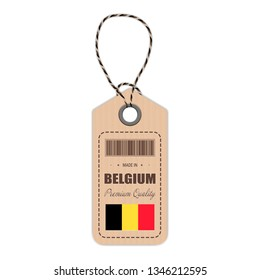 Hang Tag Made In Belgium With Flag Icon Isolated On A White Background. Vector Illustration. Made In Badge. Business Concept. Buy products made in Belgium. Use For Brochures, Printed Materials, Logos