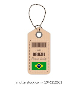 Hang Tag Made In Brazil With Flag Icon Isolated On A White Background. Vector Illustration. Made In Badge. Business Concept. Buy products made in Brazil. Use For Brochures, Printed Materials, Logos