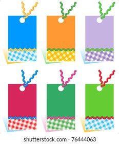 Hang tags with ric rac and gingham details ( for high res JPEG or TIFF see image 76444060 )