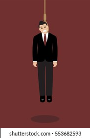 Hanged businessman. Business concept